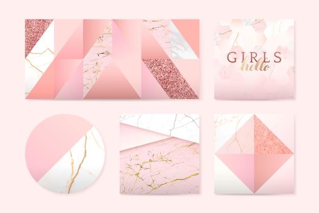 Insignias de color rosa femenino