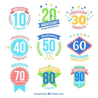 Insignias coloridas de aniversario