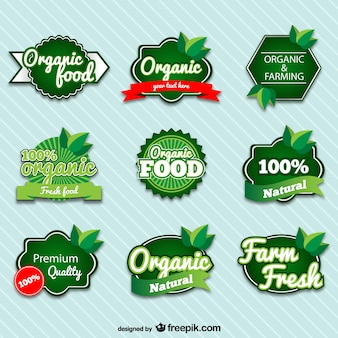 Insignias de comida orgánica