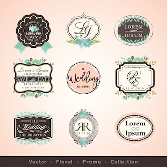 Insignias de boda vintage
