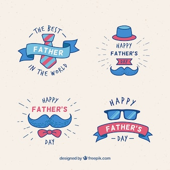 Insignias de día del padre con elementos de ropa