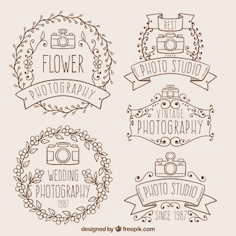 Insignias decorativas de foto dibujadas a mano en estilo vintage