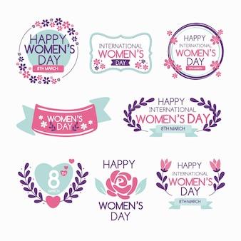 Insignias del día internacional de la mujer dibujadas a mano.