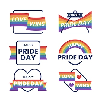 Insignias del día del orgullo con paquete de banderas