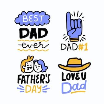 Insignias del día del padre dibujadas a mano