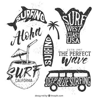 Insignias dibujadas a mano de surf
