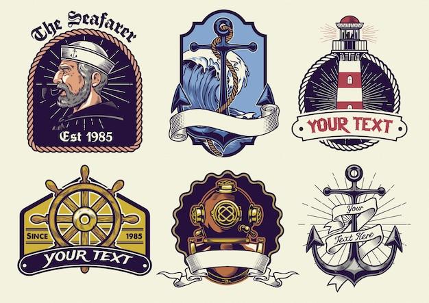 Insignias de diseño de colección náutica en look vintage.
