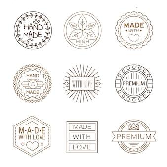 Insignias de diseño retro logotipos, hechos a mano