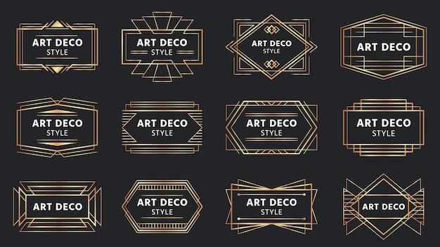 Insignias doradas art deco. etiqueta de marco dorado, placa decorativa y conjunto de marcos geométricos.