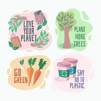 Insignias de ecología dibujadas a mano con plantas