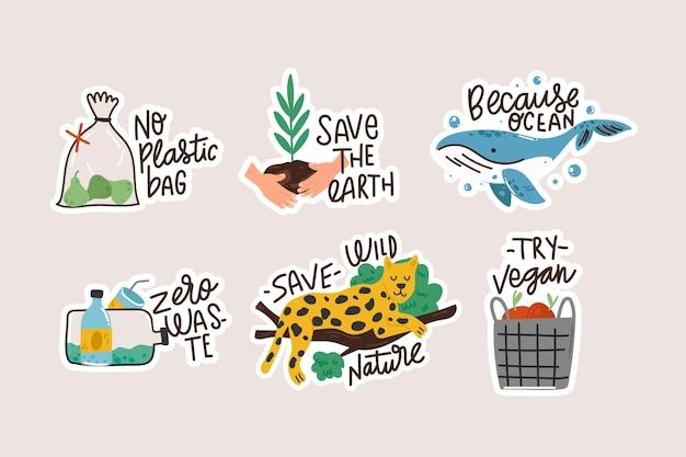 Insignias de ecología dibujadas a mano