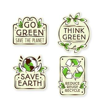 Insignias de ecología de diseño dibujado a mano