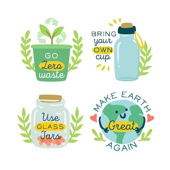 Insignias ecológicas dibujadas a mano ambiental