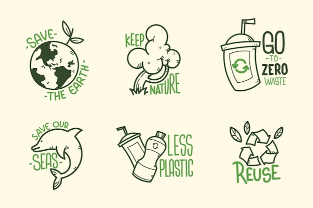 Insignias ecológicas dibujadas a mano verde