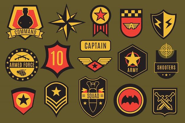 Insignias del ejército. parches militares de ee. uu. y etiquetas en el aire. galones de soldado estadounidense con tipografía y conjunto de vectores de estrellas