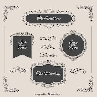 Insignias elegantes de boda