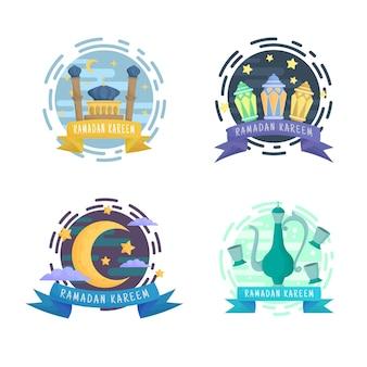 Insignias de emblemas dorados de ramadan kareem