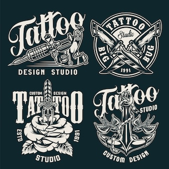 Insignias de estudio de tatuajes vintage