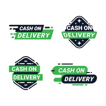 Insignias de etiqueta de pago contra reembolso planas