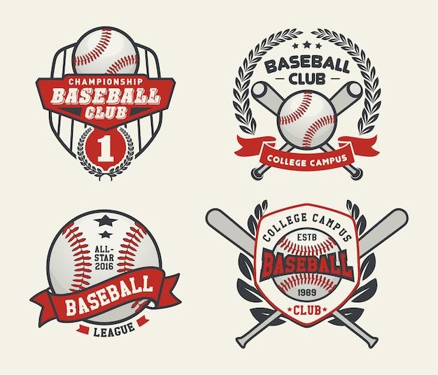 Insignias y etiquetas de béisbol, diseño de logotipo deportivo