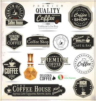 Insignias y etiquetas de café retro