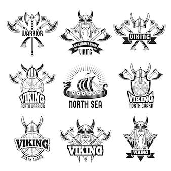 Insignias y etiquetas deportivas y de combate con vikingos y guerreros bárbaros.