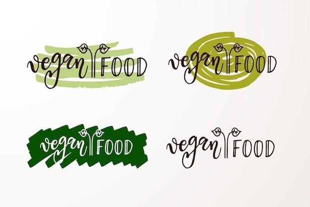 Insignias y etiquetas dibujadas a mano con gluten y transgénicos frescos, naturales, ecológicos y crudos vegetarianos, veganos.