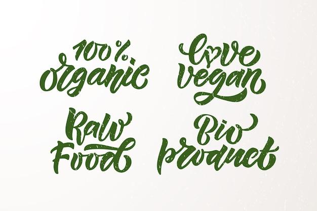 Insignias y etiquetas dibujadas a mano con vegetariano vegano crudo eco bio natural fresco gluten eps10