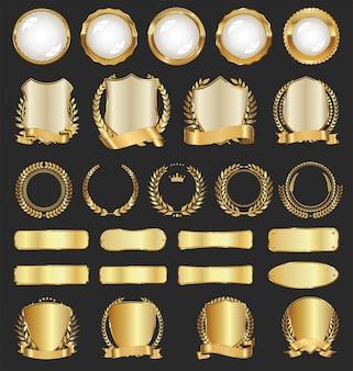 Insignias y etiquetas doradas de lujo