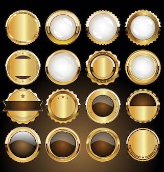 Insignias y etiquetas doradas premium de lujo