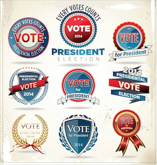Insignias y etiquetas electorales.