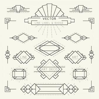 Insignias y etiquetas geométricas lineales de estilo art deco, elementos gráficos monocromos