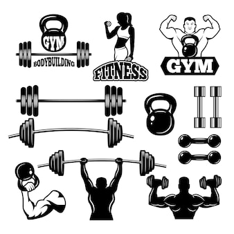 Insignias y etiquetas para gimnasio y club de fitness. símbolos deportivos en estilo monocromo