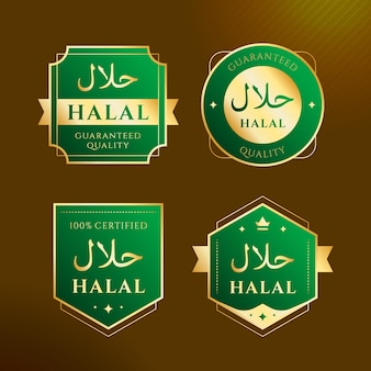 Insignias / etiquetas halal en diseño plano