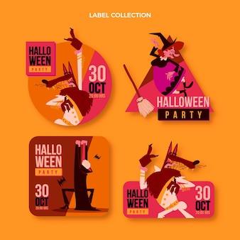 Insignias y etiquetas de halloween de diseño plano