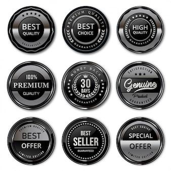Insignias y etiquetas de lujo de calidad premium en negro y plata