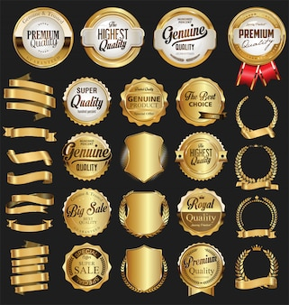 Insignias y etiquetas de oro de calidad.