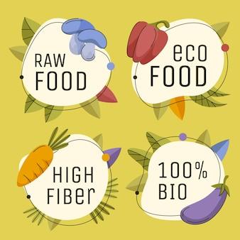 Insignias y etiquetas vegetarianas planas dibujadas a mano