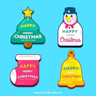 Insignias de feliz navidad en colores vivos