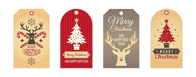 Insignias de feliz navidad. etiquetas de tela, etiquetas de regalo artesanales. conjunto de vector de elementos de decoración de invierno de cartón de vacaciones. ilustración tela artesanía etiqueta regalo navidad