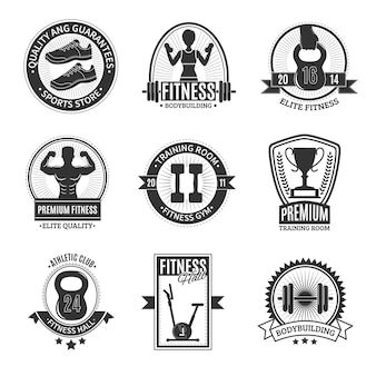 Insignias de fitness club en blanco y negro