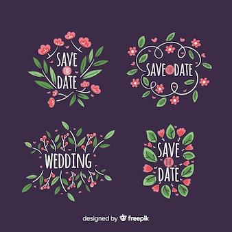 Insignias florales de boda dibujadas a mano