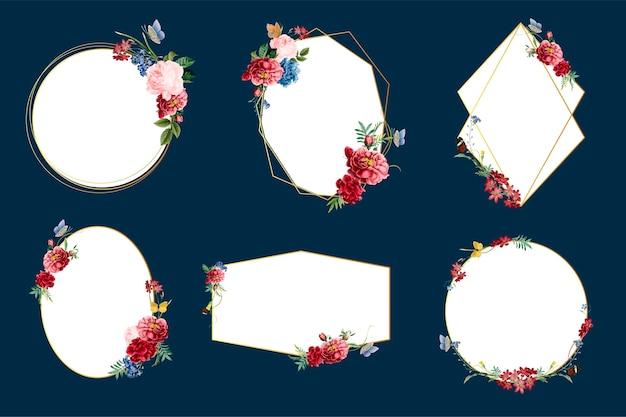Insignias florales románticas diseño de ilustraciones.