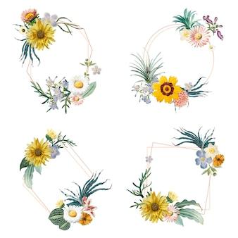 Insignias de flores enmarcadas