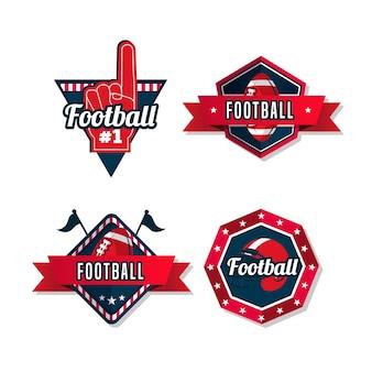 Insignias de fútbol americano con diseño retro