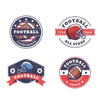 Insignias de fútbol americano con estilo retro
