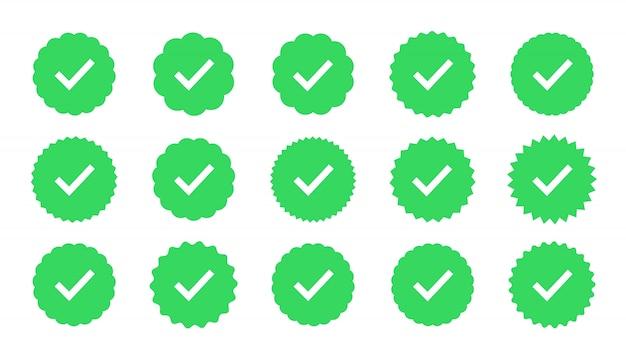 Insignias de garantía, aprobación, aceptación y calidad. marca de verificación plana. muestra de verificación de perfil.