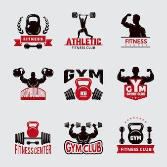 Insignias de gimnasio. colección de emblemas del club atlético del logotipo de la salud de la aptitud del deporte.