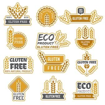 Insignias sin gluten. etiquetas adhesivas de productos naturales frescos de eco bio farm para paquetes sin gluten en los alimentos