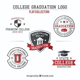Insignias de graduación en estilo plano